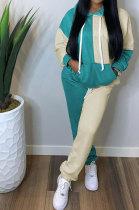 Casual Spliced Sport Long Sleeve Hoodies Long Pants Two-Piece TL6512