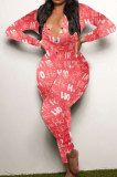 Womenswear New Year Christmas Pattern Printing Long Pants At Home Bodycon Jumpsuits SDD9468
