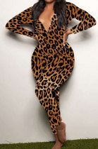 Casual Leopard Printing Long Sleeve Long Pant At Home Bodycon Jumpsuits SDD9464