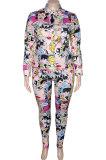 Big Size Womenswear Casual Head Portrait Printing Long Sleeve Shirts Long Pants Sets NY5072