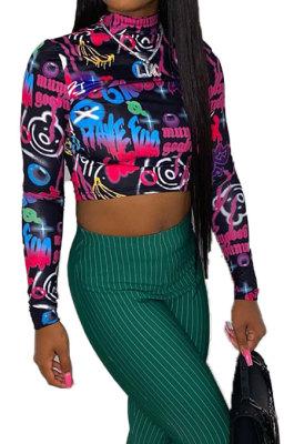 Long Sleeve Round Neck Printing Waist T Shirts BLE2231