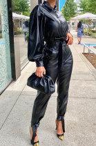 Womenswear PU Cortical Long Sleeve Sets Two-Piece MD376
