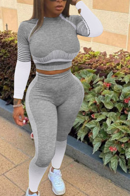 Fashion Casual Gradient Stripe Sport Yoga Suits Sets W8356
