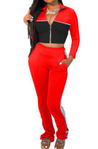 Pure Color Spliced Fashion Sport Long Sleeve Zipper Casual Two-Piece YMM9042
