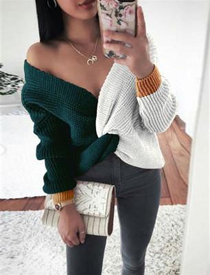 Knit Color Block Front Criss-cross Blouse