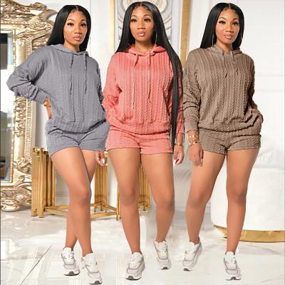 Knit Hoodie Blouse & Shorts Set
