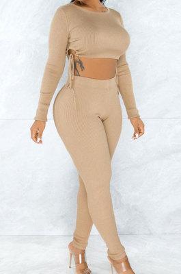 Autumn Winter Long Sleeve Round Neck Shirred Detail Bind Thread Two-Piece Q709