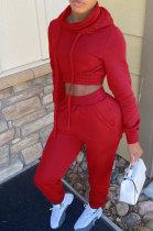 Womenswear Long Sleeve Heap Collar Hooded Sport Sets FH126
