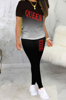 Fashion Printing Letter Casual Sport Two-Piece BLE2232