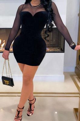 Fashion Sexy Korean Velvet Net Yarn Spliced Mini Dress ML7416