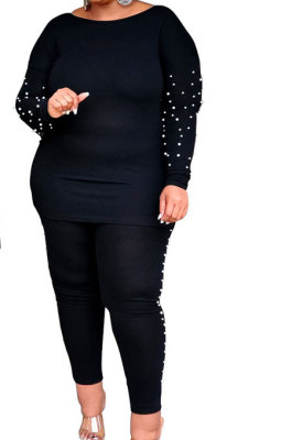 Bubble Bead Big Size Jacket Long Pants Two-Piece YF1395