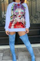 Casual Fleece Fashion Digital Printing Long Sleeve Loose Hoodie Tops AA5039