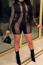 Sexy Womenswear Net Yarn Perspective Patchwork Long Sleeve Jumpsuits BBN145