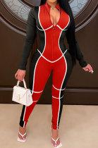 Fashion Womenswear Positioning Printing Long Sleeve Zipper Bodycon Jumpsuits WXY8830