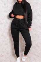 Solid-Color Crop Hoodie Sweatsuit With Elastic Waist X9289