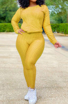 Yoga Pants Sport Two-Piece Set With A Round Neck Hoodie SN390068