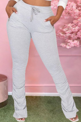 Draw String Zipper Pocket Shirred Detail Pure Color Flare Leg Pants D8416