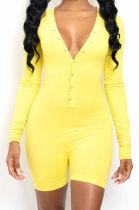 Fashion Open Hip Jumpsuits Casual Pure Color Shorts Jumpsuits YMT6192