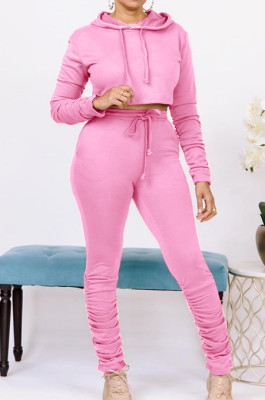 Solid-Color Pleated Pocket Hoodie Sport Suit HHM6358