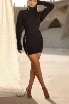 Fashion Pure Color Double Zipper Cultivate One's Morality Mini Dress YX9263