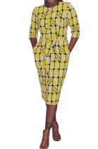Autumn Winter Sets Horn Sleeve Temperament Commuting Printing Yellow Midi Dress EL8106