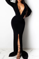 Solid Color Big V-Neck Sexy Slim Evening Dress For Ladies KZ224