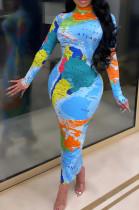 Long Sleeve High Collar Fashion Features Print Women Long Dress KZ218