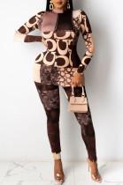 Features Print Women High Collar Long Sleeve High Elastic Leisure Suit KZ216