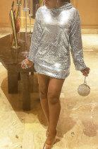 Silver Sequins Hooded Set Head Club Dress ZNN5110