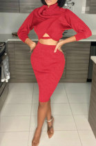 Pure Color Long Sleeve Midriff Ruffle Package Hip Skirt Sexy Fashion Sets L0337