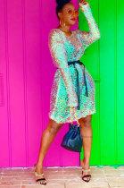 Sequins Long Sleeve Lndependent Belt Club Dress ZNN5109