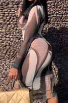 Sexy Perspective Irregular Printing Long Sleeve Dress ZNN8013