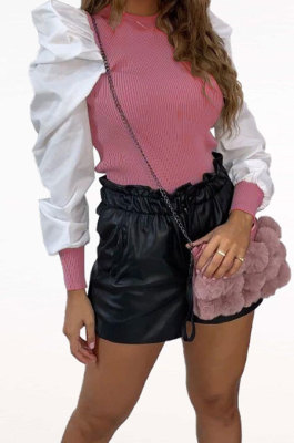 Fashion Casual Pure Color Puff Sleeve Round Neck Jacket ZNN8341