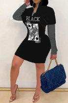 Casual Fashion Autumn Winter Poker Printing Long Sleeve Zipper Dress SH7243