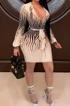 Sexy Fashion Dark V Backless Printing Dress SH7244