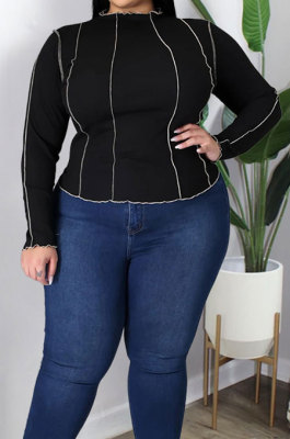 Fashion Pure Color Rib Opposite Side Flowers Sleeve Plus Size Tops GL7011