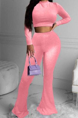 Fashion Casual Womenswear Pure Color Big Bell Bottom Long Sleeve Two-Piece SYY8008