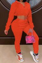 Fashion Sport Womenswear Zipper Pure Color Long Sleeve Two-Piece SYY8009