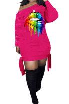 Fashion Womenswear Oblique Shoulder Lips Printing Buttons Bind Dress SYY8027
