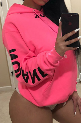 Fashion Casual Letter Printing Pink Hooded Fleece SYY8030
