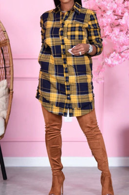 Cardigan Womenswear Fashion Plaid Round Neck Casual Shirt Skirt DY6638