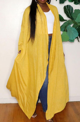 Casual With Pocket Long Sleeve Pure Color Cardigan Coat SMD2059