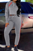 Fashion Sport Spliced Pure Color Hooded Two-Piece TZ1175