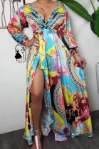 Womenswear Sexy Long Sleeve V Neck High Waist Printing Long Dress DM5289