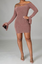 Off Shoulder Pure Color Shiner Long Sleeve Fashion Casual Dress SNM8213