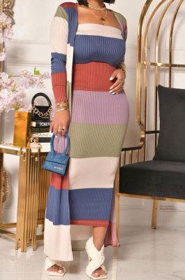 Fashion Temperament Long Sleeve Printing Multi Coat Two-Piece KA7157
