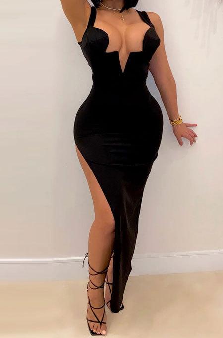 Sexy Backless Sling Irregularity Deep V Open Fofk Club Suits Slit Skirt KA7158