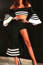 Sexy Off Shoulder Horn Sleeve Waist High Slit Skirt Two-Piece BN9031