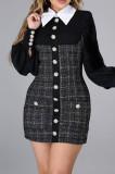 Fashion Lapel Long Slevee Printing Hip Dresses CCY8844