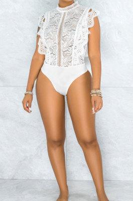 Sexy Lace Floret Edge Round Neck Zipper Jumpsuits CCY8869
